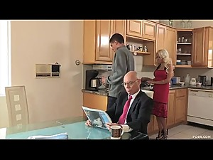 Son fucks his stepmom after his father goes to work