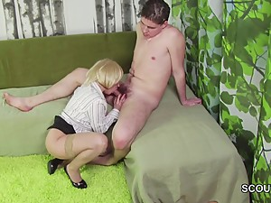 Young Boy caught Step-Mom Masturbation and helps with Fuck