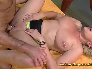 extreme pierced stepmom in german gangbang