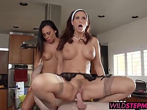 Brick fucks Gianna Nicole and her busty stepmom Syren De Mer